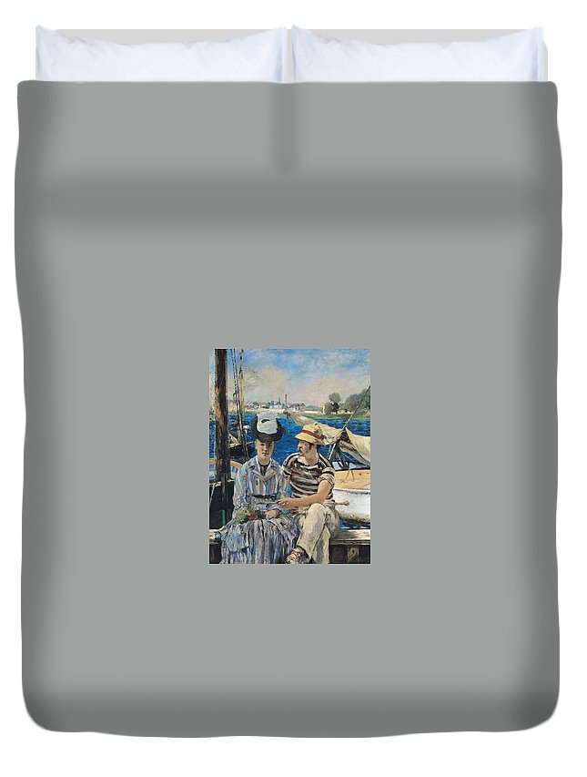 Boat Duvet Cover featuring the painting Argenteuil by Edouard Manet