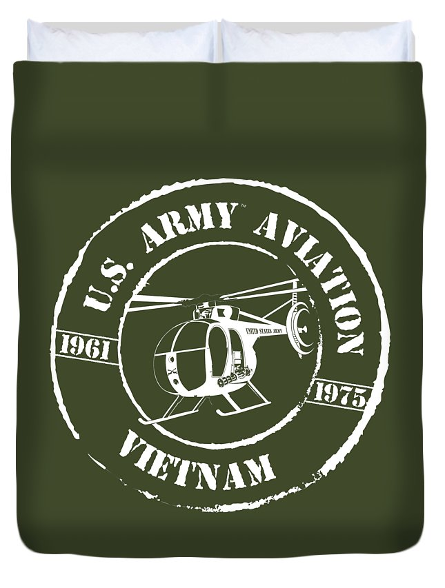 Oh-6 Duvet Cover featuring the digital art Army Aviation Vietnam by Sheila Broumley