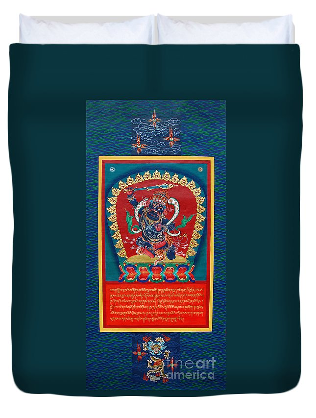 Thangka Duvet Cover featuring the painting Arya Achala - Immovable One by Sergey Noskov
