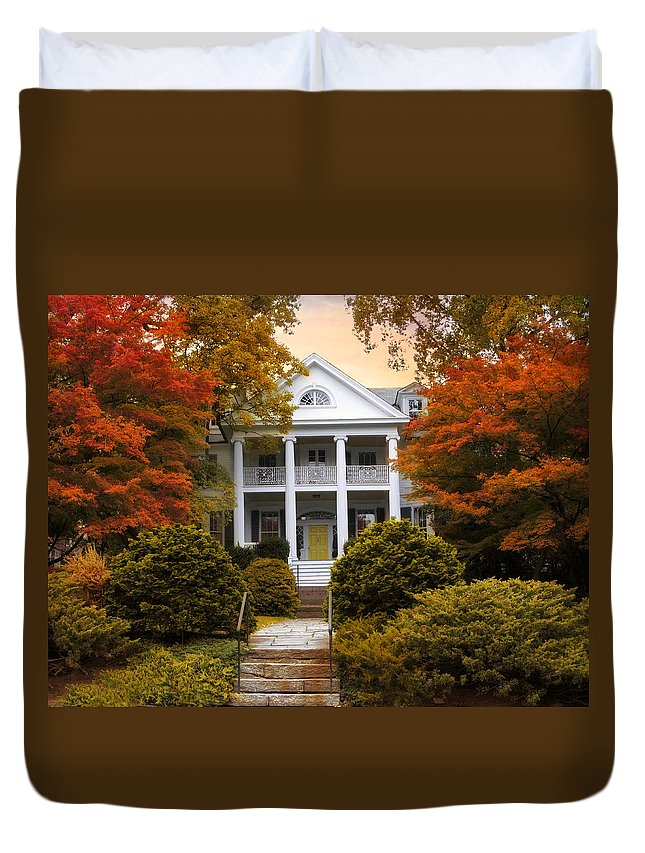 House Duvet Cover featuring the photograph Autumn Hideaway by Jessica Jenney