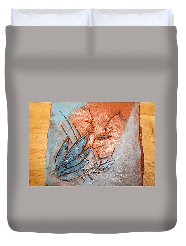 Jesus Duvet Cover featuring the ceramic art Aweese - Tile by Gloria Ssali