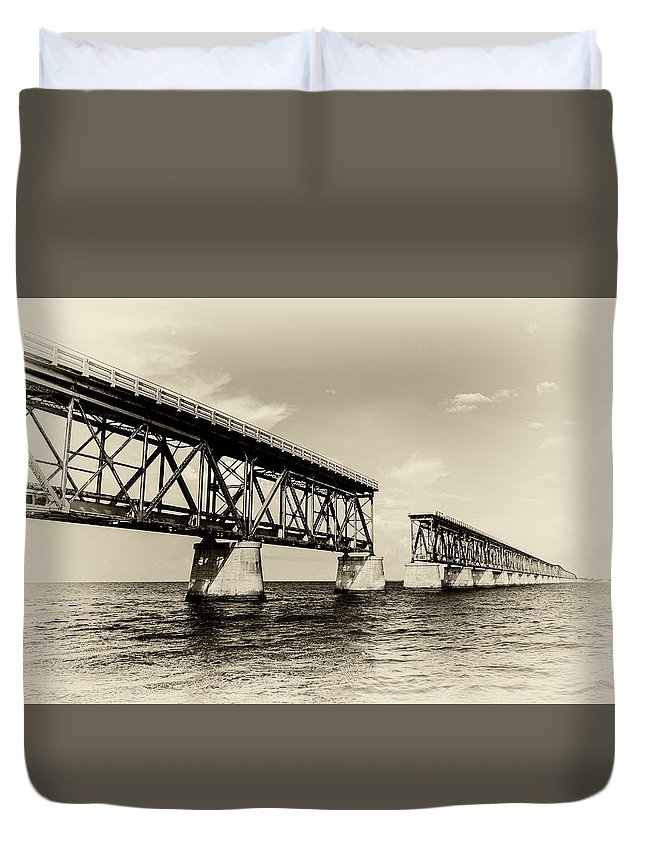 Clouds Duvet Cover featuring the photograph Bahia Honda Bridge by Gary Oliver