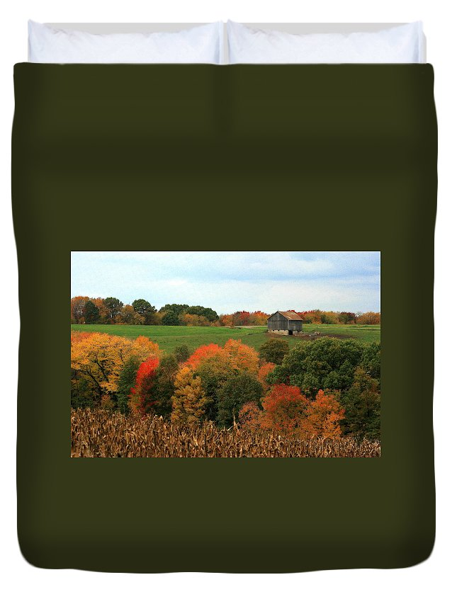 Affordable Duvet Cover featuring the photograph Barn On Autumn Hillside A Seasonal Perspective Of A Quiet Farm Scene by Angela Rath