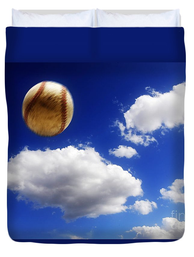 Ball Duvet Cover featuring the photograph Baseball In Air by Lane Erickson