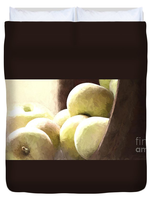 Apples Duvet Cover featuring the photograph Basket Of Apples by Pam Holdsworth