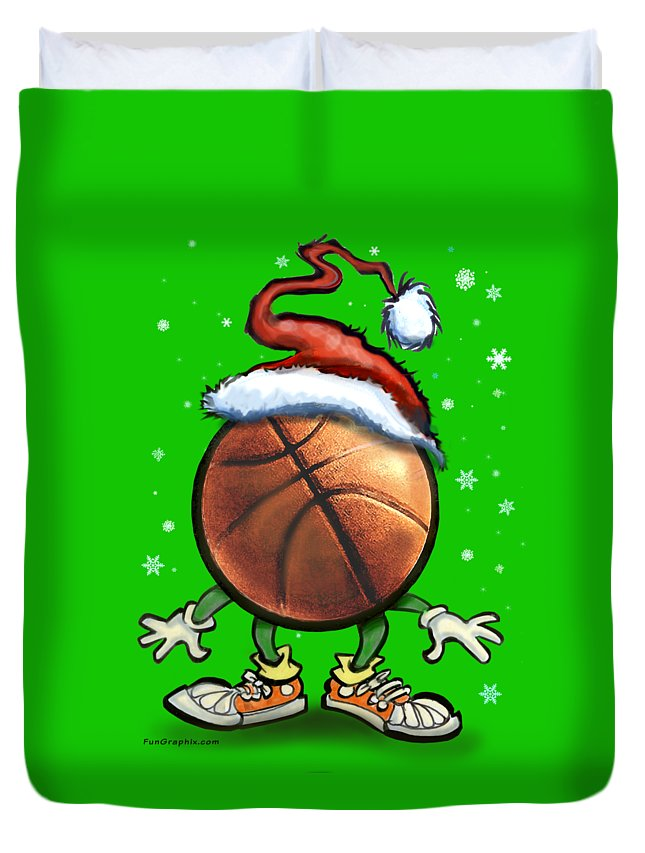 Basketball Duvet Cover featuring the digital art Basketball Christmas by Kevin Middleton