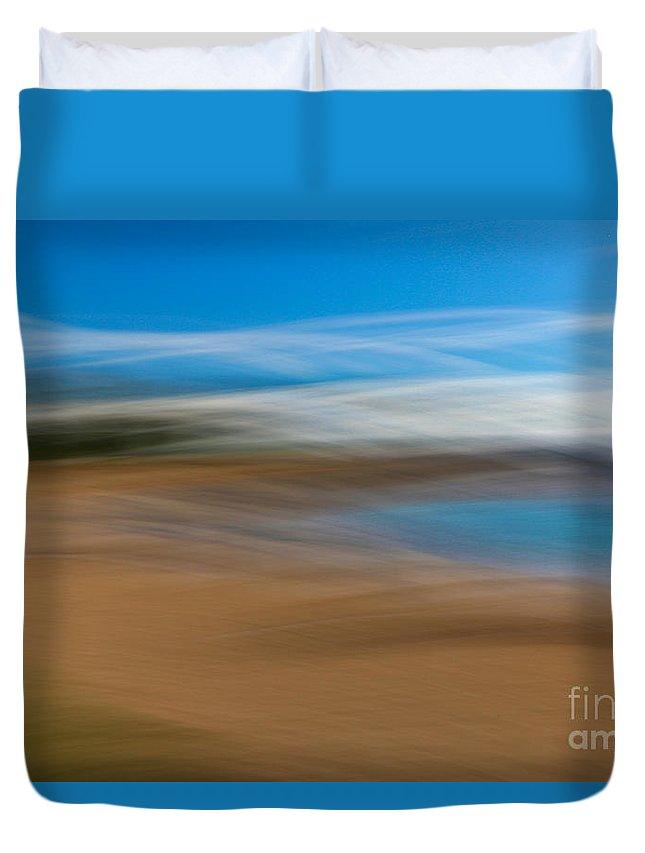 Long Exposure Swipe Duvet Cover featuring the photograph Beach Art by Byron Fair