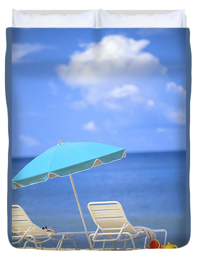 Afternoon Duvet Cover featuring the photograph Beach Chairs by Dana Edmunds - Printscapes