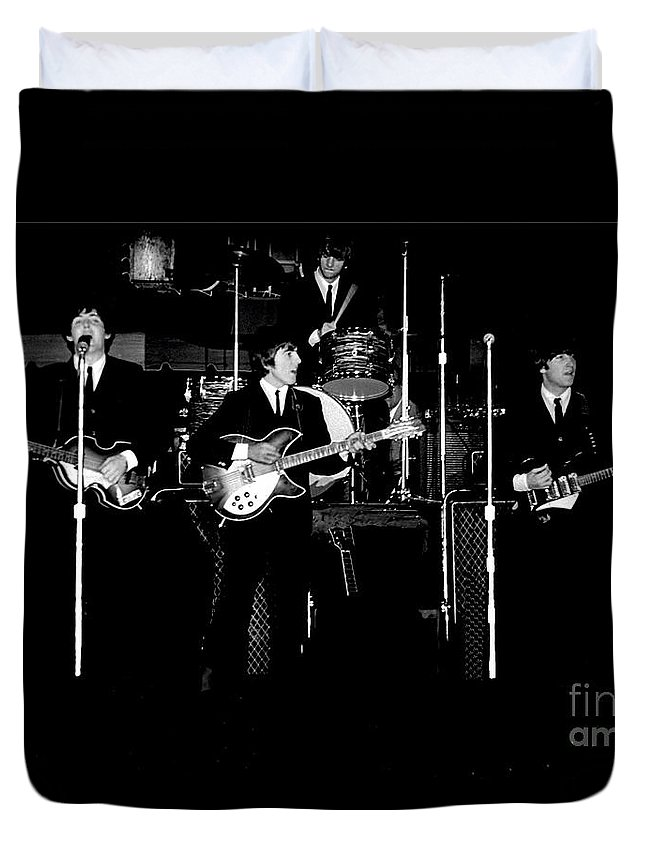 Beatles Duvet Cover featuring the photograph Beatles In Concert 1964 by Larry Mulvehill