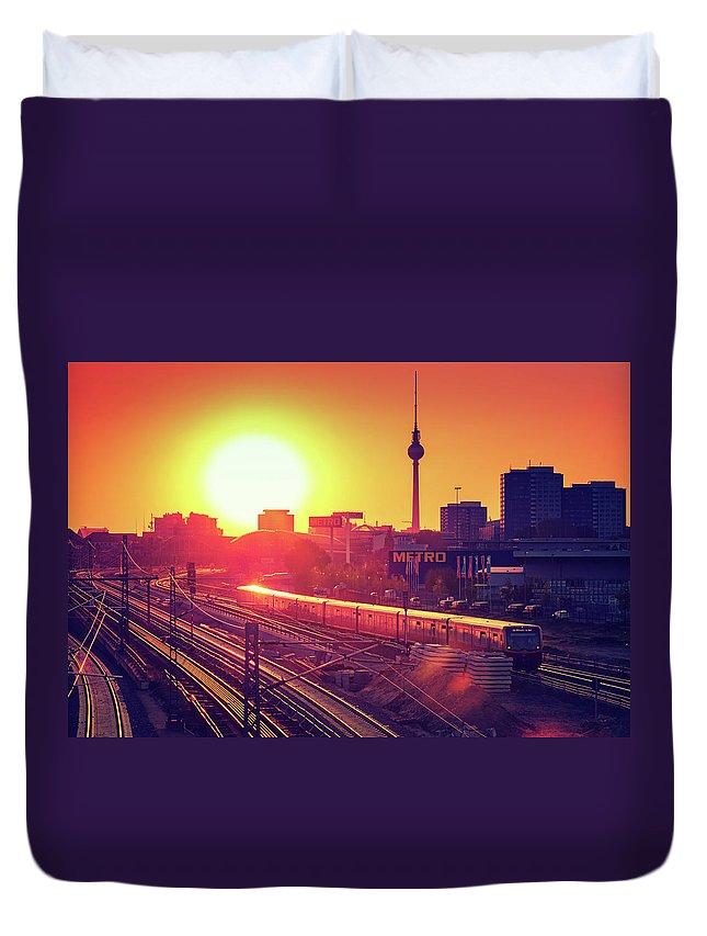 Berlin Duvet Cover featuring the photograph Berlin - Sunset Skyline by Alexander Voss