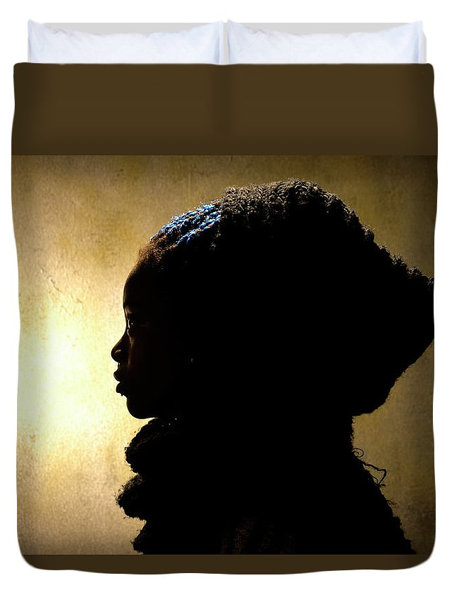 Africa Duvet Cover featuring the pyrography Beyond The Light by Mbuso Sydwell Nkosi