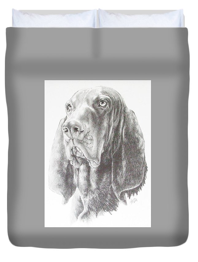 Purebred Dogs Duvet Cover featuring the drawing Black And Tan Coonhound by Barbara Keith