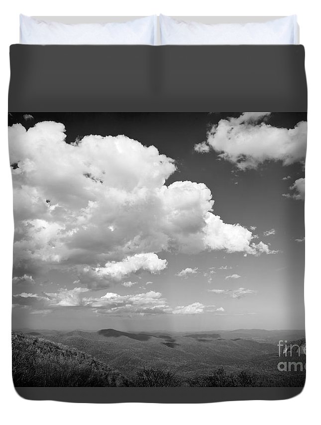 Black And White Duvet Cover featuring the photograph Black And White Blue Ridge Mountains by Chip Laughton