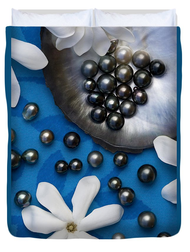 Pearl Duvet Cover featuring the photograph Black Pearls And Tiare Flowers by Jean-Louis Klein & Marie-Luce Hubert
