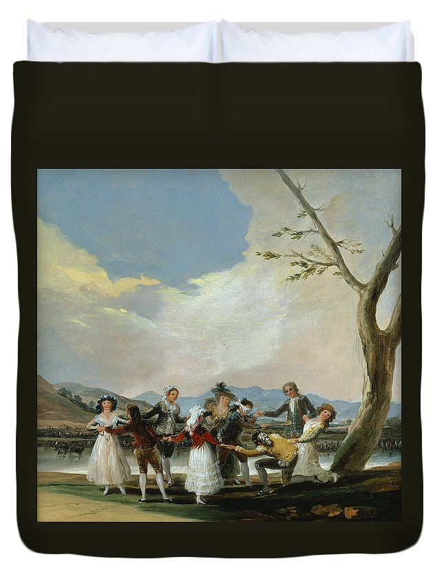 Arts Duvet Cover featuring the painting Blind Man's Buff by Francisco Goya