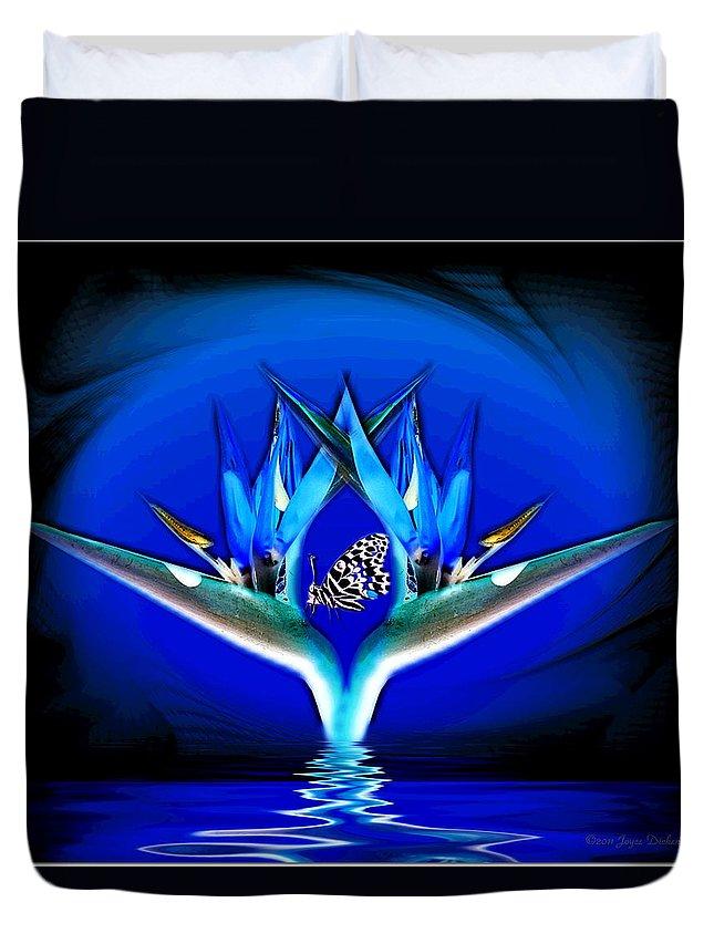 Bird Of Paradise Duvet Cover featuring the digital art Blue Bird Of Paradise by Joyce Dickens