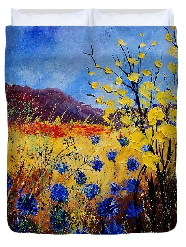 Poppies Flowers Floral Duvet Cover featuring the painting Blue Cornflowers by Pol Ledent
