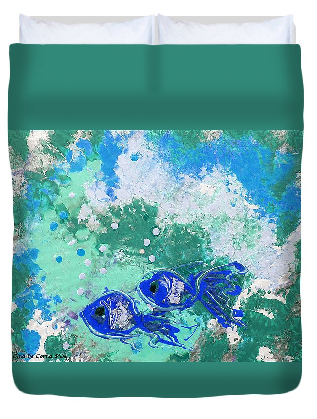 Fish Duvet Cover featuring the painting 2 Blue Fish by Gina De Gorna