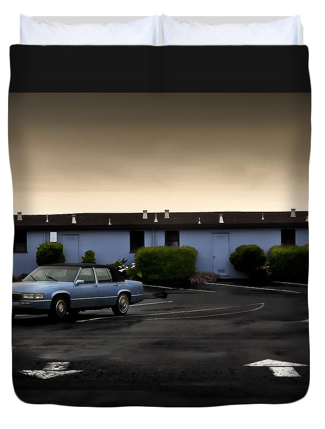 Blue Duvet Cover featuring the photograph Blue Motel by John Hansen