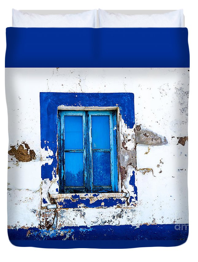 Portugal Small Cities Duvet Cover featuring the photograph Blue Window by Rick Bragan