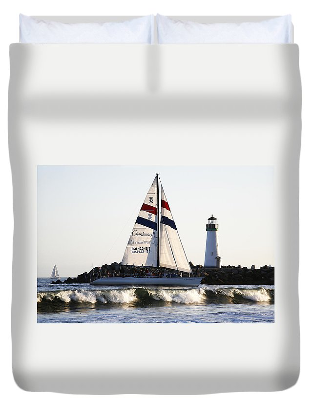 Santa Cruz Duvet Cover featuring the photograph 2 Boats Approach by Marilyn Hunt
