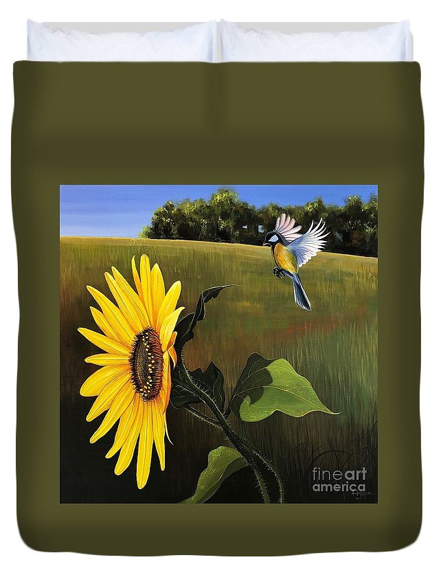 Sunflower Duvet Cover featuring the painting Bright As Yellow by Hunter Jay