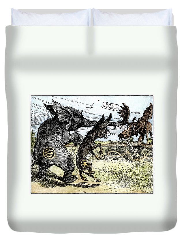 1912 Duvet Cover featuring the photograph Bull Moose Campaign, 1912 by Granger
