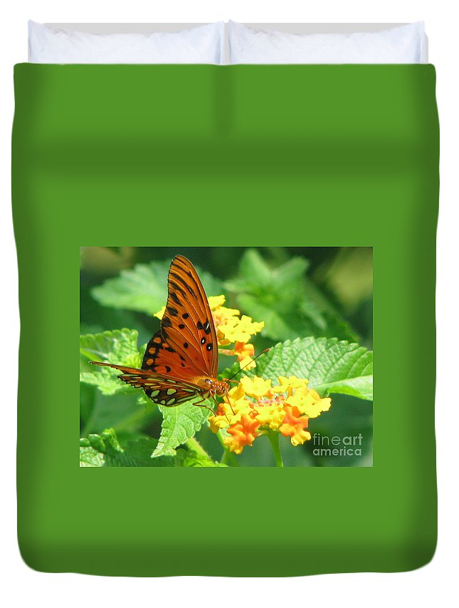 Butterfly Duvet Cover featuring the photograph Butterfly by Amanda Barcon