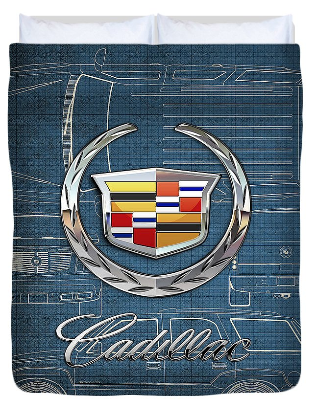 'wheels Of Fortune' By Serge Averbukh Duvet Cover featuring the photograph Cadillac 3 D Badge over Cadillac Escalade Blueprint by Serge Averbukh