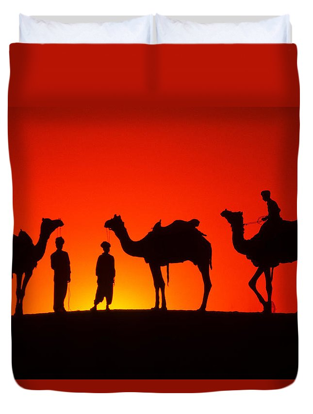 India Duvet Cover featuring the photograph Camels At Sunset by Michele Burgess