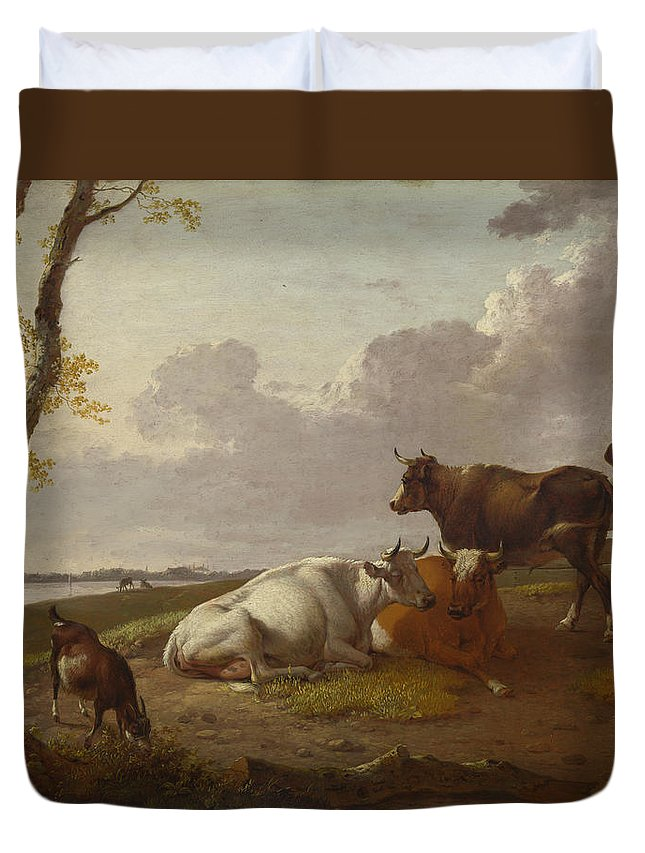 Agriculture Duvet Cover featuring the painting Cattle by Heinrich Wilhelm Schweickhardt