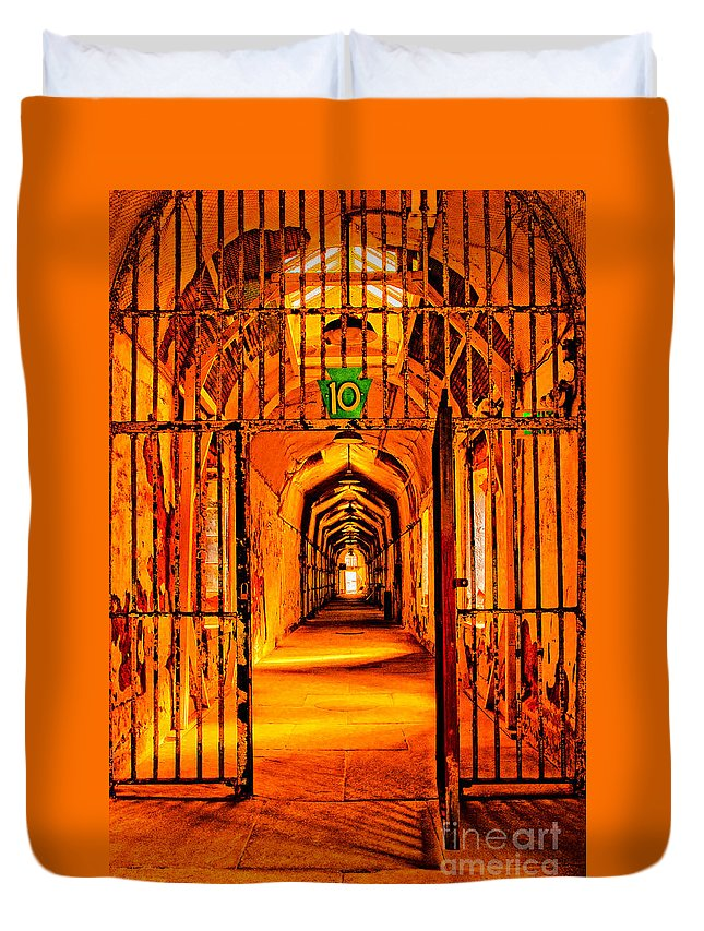 Eastern State Penitentiary Duvet Cover featuring the photograph Cell Block 10 by Paul W Faust - Impressions of Light