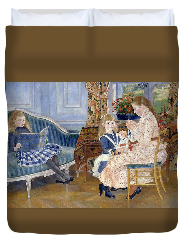 Pierre-auguste Renoir Duvet Cover featuring the painting Children's Afternoon At Wargemont by Pierre-Auguste Renoir