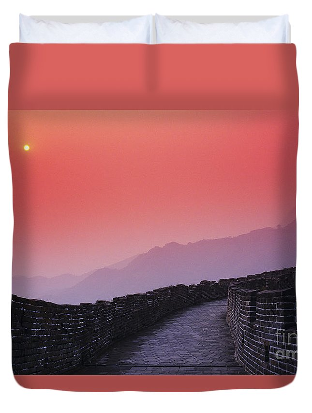 Afar Duvet Cover featuring the photograph China, Mu Tian Yu by Gloria & Richard Maschmeyer - Printscapes