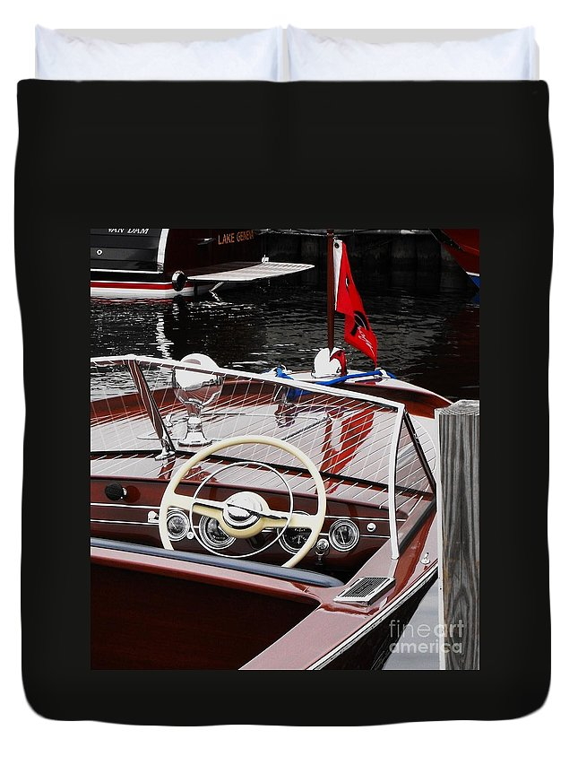 Chris Craft Duvet Cover featuring the photograph Chris Craft Utility by Neil Zimmerman