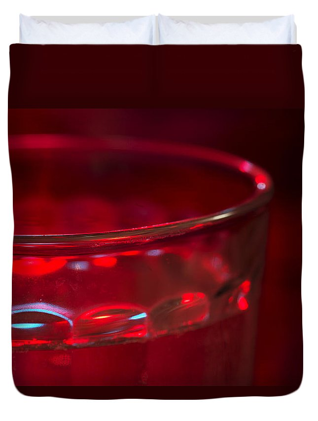 Christmas Duvet Cover featuring the photograph Christmas Theme Glass Of Water by Donald Erickson