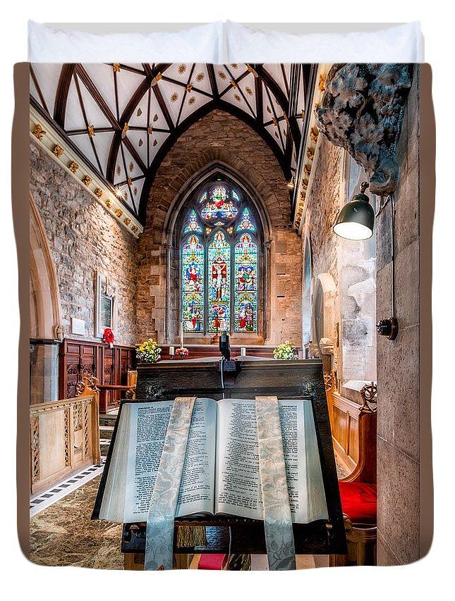Church Interior Duvet Cover featuring the photograph Church Interior by Adrian Evans