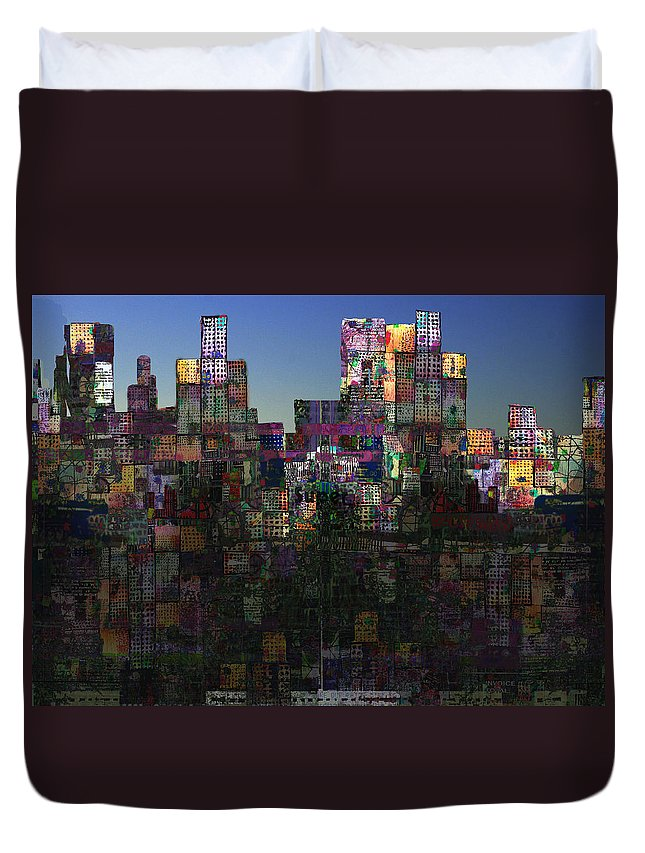 City Duvet Cover featuring the digital art City Sunrise by Andy Mercer