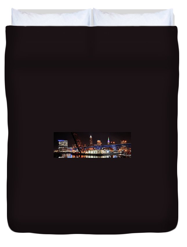 Cleveland Duvet Cover featuring the photograph Cleveland Panorama by Frozen in Time Fine Art Photography