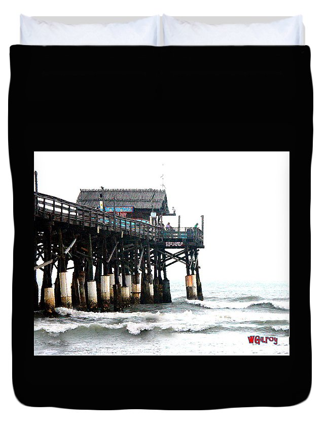 ~ Duvet Cover featuring the photograph Cocoa Beach Pier by W Gilroy