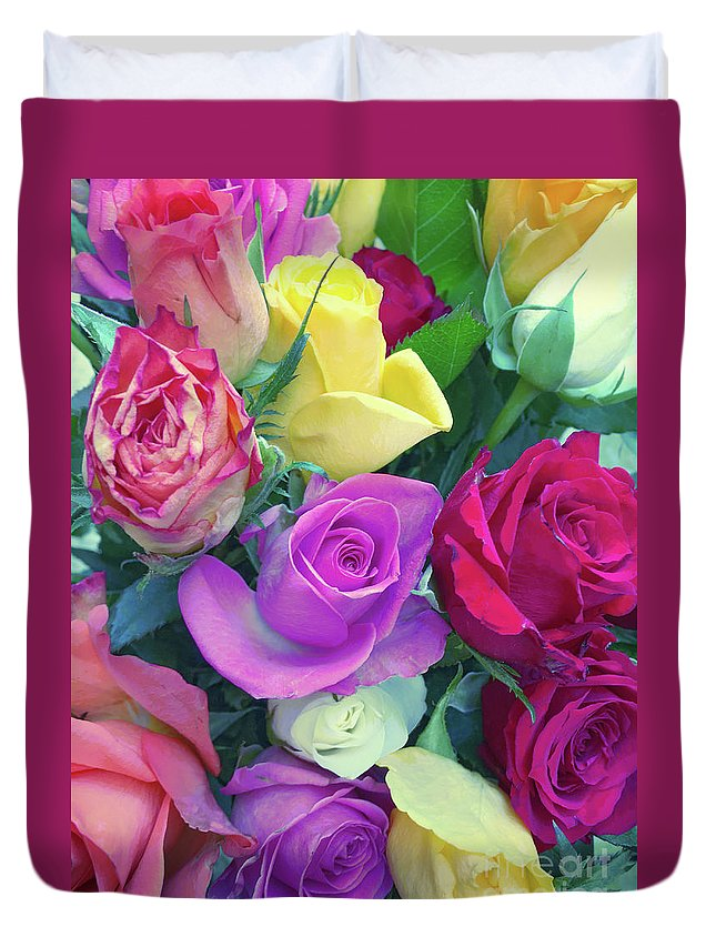 Background Duvet Cover featuring the photograph Colourful Flowers by Tom Gowanlock