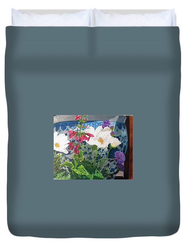 Flowers Duvet Cover featuring the painting Cosmos by Karen Ilari