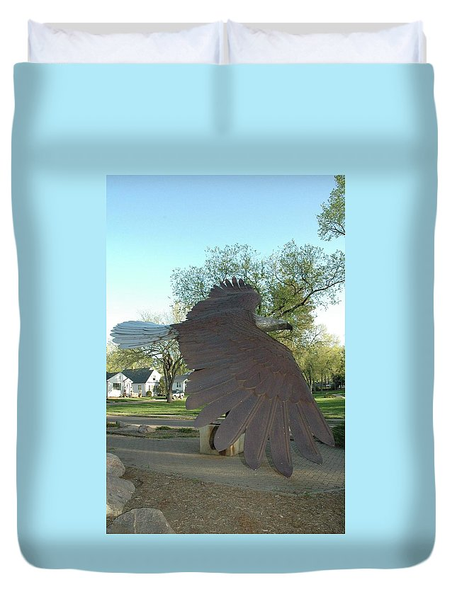 Duvet Cover featuring the sculpture Custer Park, Bismarck, Nd, Usa - Bicentennial Of The Constitution by Wayne Pruse