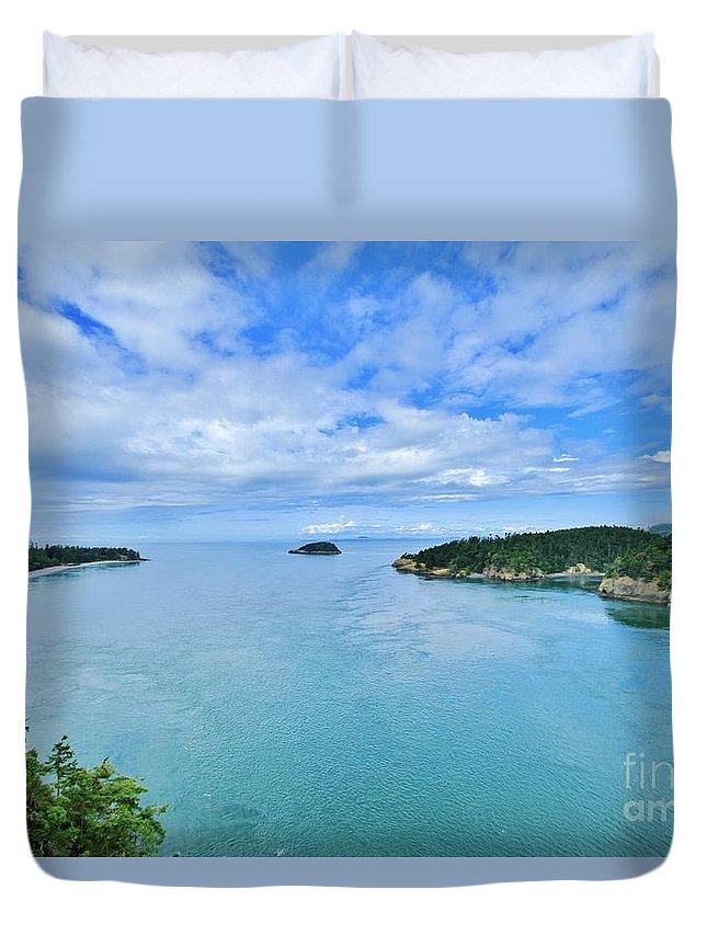 Puget Sound Duvet Cover featuring the photograph Deception Pass by Terry Matysak