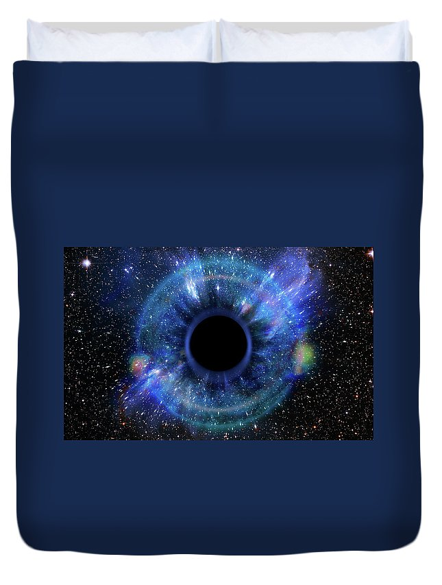 Abstract Duvet Cover featuring the photograph Deep Black Hole, Like An Eye In The Sky by Alain De Maximy