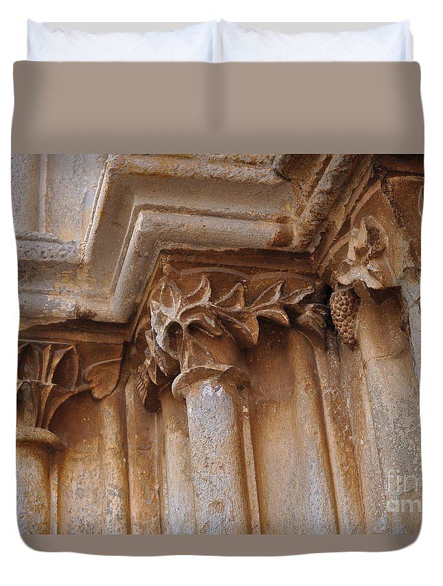 Igreja De Santa Maria Do Castelo Duvet Cover featuring the photograph Detail Of The Medieval Portal Of Saint Marys Church In Tavira. Portugal by Angelo DeVal