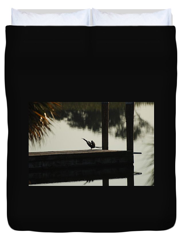 Reflections Duvet Cover featuring the photograph Dock Bird by Rob Hans