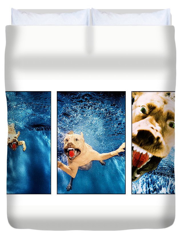 Dog Duvet Cover featuring the photograph Dog Underwater Series by Jill Reger
