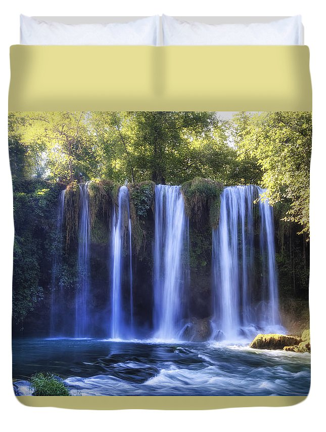 Duden Waterfall Duvet Cover featuring the photograph Duden Waterfall - Turkey by Joana Kruse