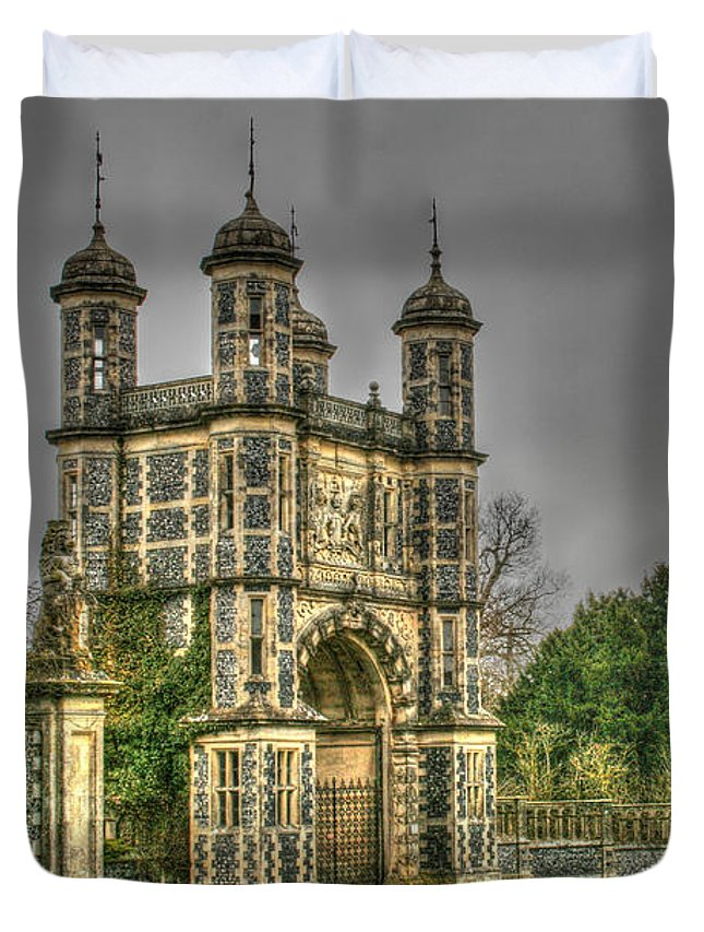 Duvet Cover featuring the photograph Eastwell Towers by Dave Godden